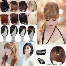 Long Side Bang Clip in on Fringe Hair Extensions Front Neat Bangs Human Love F8K