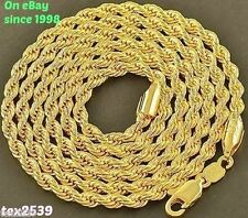 USA 18K Gold Plated Rope Chain Necklace Widths.2 3 4 &  6, MM  LIFETIME WARRANTY