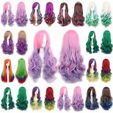 60-100cm Rainbow Long Curly Straight Full Hair Wigs Heat Resistant Cosplay Wig #
