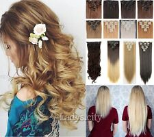Pro 8PIECE Clip In On Hair Extensions Brown Blonde Remy Thick Hair Extension F55