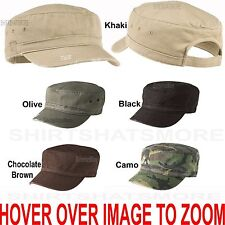 Mens, Womens Distressed Military Style Cotton Cadet Cap Hat Adjustable NEW!