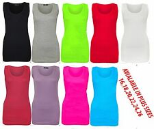 Womens Ladies Summer Ribbed Cami Stretch Muscle Back Plus  Vest Top PLUS SIZE