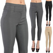 TheMogan Women's Wide High Waisted Slant Pocket Stretch Skinny Trousers