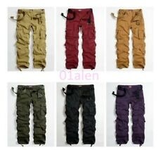 Womens Mens Military Army Cargo Pocket Baggy Pants Casual Outdoor Belt Trousers
