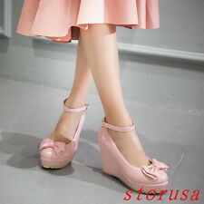 Women Girls High Wedge Heel Platform Shoes Sandals Bowknot Casual Shoes Size