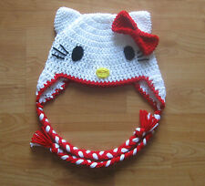 Hello Kitty Ear Flap Earflap Hat - Newborn to Adult Sizes - Hand-crocheted