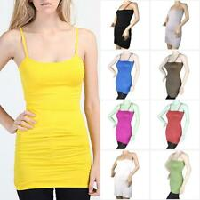 Basic Solid Color Women's Non-Adjustable Spaghetti Strap Tank Top Long Camisole