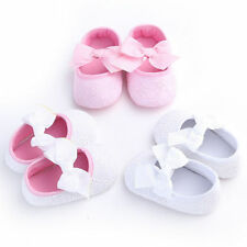 Baby Princess Bowknot Crib Shoes Toddler Girl Soft Sole Prewalker Newborn to 18M