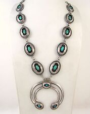 Vintage Navajo 925 Sterling Silver Turquoise Shadowbox Squash Blossom Necklace J