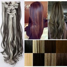 New Ombre 100% Real Natural Full Head Clip in Hair Extensions 18 clips On f99