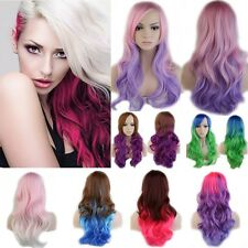 Ombre Cosplay Wig Multicolor Party Long Curl Wavy Full Wigs Halloween Hair Net G