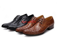 Mens Woven Cow Leather Business Dress Formal Shoes fashion slip on mens shoes sz