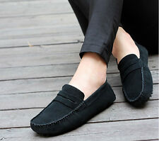 Mens Casual Suede Leather Slip On Driving Shoes Moccasin Loafer Flats Male Shoes
