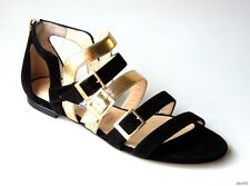 new $925 JIMMY CHOO 'Bloom' black gold open-toe logo buckle flat shoes -gorgeous