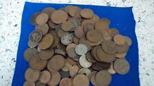box of copper & silver old english coins