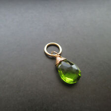 Peridot Quartz Wire Wrapped Gemstone with Jump Ring Interchangeable Pendant