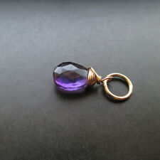 Purple Amethyst Wire Wrapped Gemstone with Jump Ring Interchangeable Pendant