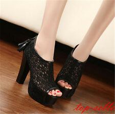 Sexy Women Lace Hollow out Shoes Tassel Zip High Heels Peep toe Pump Sandal New