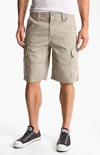 New Hurley solid beige khaki chino long cargo shorts skate  Commander men sz 42
