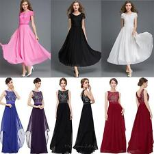 Women's Bridesmaid Evening Gown Cocktail Party Prom Lace Chiffon Long Maxi Dress