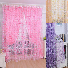 Sheer Curtain Floral Flowers Printing Voile Door Window Curtains Scarf Valance