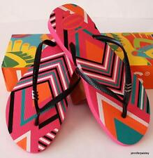 HAVAIANAS REAL NEW Ladies Slim THONGS FLIPFLOPS TRIBAL SHOCKING PINK Metal Logo