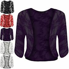 Womens Ladies Floral Lace Batwing Sleeve Open Front Bolero Crop Shrug Plus Size