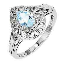 925 Sterling Silver Blue Topaz Filigree Pear Ring - 0.621cttw