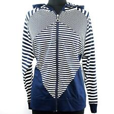 Plus Size Navy White Striped Hooded Knit Long Sleeve Zip Front Jacket Womens Top