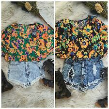 Black or Green Full Print Floral Kimono Sleeves Crop Top