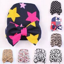 Newborn Infant Toddler Baby Boy Girl Soft Cotton Bowknot Hospital Cap Beanie Hat