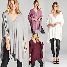 Boho ULTRA SOFT Brushed Hacci Oversized V-Neck Dolman Poncho Tunic Sweater S-XL