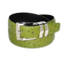 OSTRICH Pattern LIME GREEN Bonded Leather Men's Belt Silver-Tone Buckle Regular