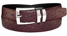 OSTRICH Pattern BURGUNDY Bonded Leather Men's Belt Silver-Tone Buckle Regular