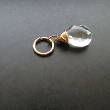 CLEAR QUARTZ Gemstone Interchangeable Pendant Charm with Jump Ring