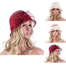 New Elegant Womens Sinamay Big Bow Cloche Church  Derby Wedding  Dress Hat T152