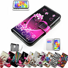 Flip Stand PU Leather Wallet Phone Case Cover Patterned For Samsung Cell Phones