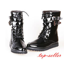 #Patent Leather Men Mid Calf Boot Strap Military Lace Up Motorcycle Combat Shoes