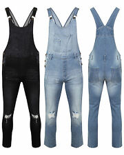 Womens Ladies Denim Dungarees Long Slim Fit Ripped Stretch Wash Jeans Jumpsuit