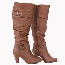 Chic Trendy Slouchy Bronze Buckle Accent Knee High Boots Rounded Toe Cognac
