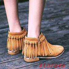 Fashion Women Lady Low Heel Tassel Ankle Boots Side Zipper Suede Shoes Size New