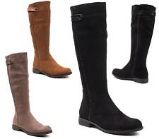 WOMENS KNEE HIGH BIKER RIDING BOOTS LADIES FLAT LOW HEEL FASHION SHOES SIZE 3-8
