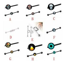 Logo Ball Ear Cartilage Ear Scaffold Ring Straight Industrial Barbell Rings 38mm