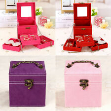 4 Colors Jewelry Box Velvet Storage Organizer Case Ring Earring Necklace Mirror