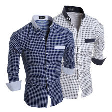 Trendy Mens Casual Button Down Slim Fit Long Sleeve Plaids Casual Dress Shirts