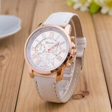 Geneva Womens Fashion Quartz Watch Ladies Roman Number Faux Leather Analog Watch