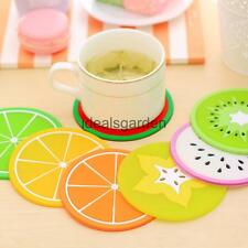 Silicone Round Cup Mat 3D Summer Fruit Cup Drinks Coaster Coffee Mat Tableware