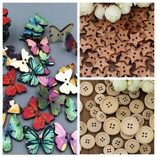 50x 2/4 Hole Wood Button Sew Round Butterfly Star Shape Diameter 15/18/19/25 mm
