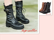S #Punk Women Cuban Heel Lace Up Motorcycle Military Combat Mid Calf Boots Shoes