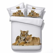 3D Bedding Queen Quilt Doona Duvet Cover Bed Sheet Pillowcase Set -Tiger Lion---